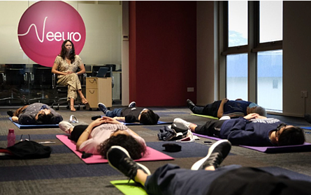 Davina Ho, a certified yoga and meditation teacher, leading us in our special meditation session.